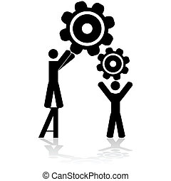 Team working together - Concept illustration showing two...