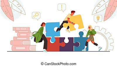 Team working together connect business puzzle