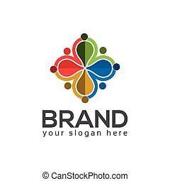 Team working together. Group of People. team work. logo vector.