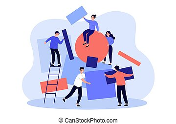 Team working together on abstract idea. People carrying subjects of different shapes and putting together geometrical puzzle. Vector illustration for chaos, teamwork, failure arranging concepts
