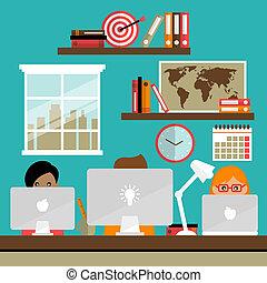 Team works on laptops - Business life people team work on...