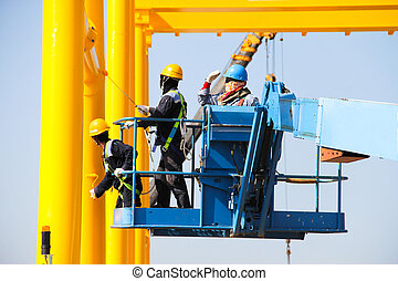 Atmosphere in the construction and painted crane.