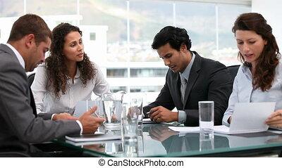team, zakelijk, ethnische , werkende , multi