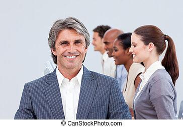 team, zijn, directeur, het glimlachen, voorkant