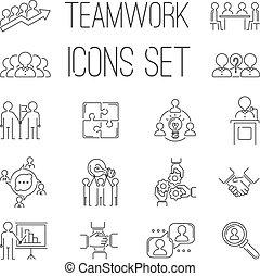 teambuilding, チームワーク, アウトライン, ビジネス アイコン