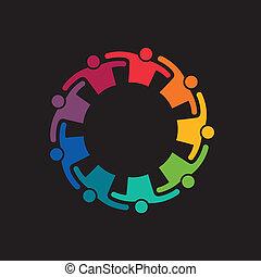 teaming, teamwork, uppe, krama, folk., ikon, vektor, grupp, ...
