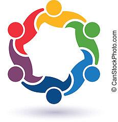 teaming, verbunden, leute, 6.concept, ander., glücklich, portion, ikone, vektor, clique, jedes