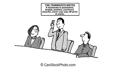 Teammate's Vow - Cartoon of a businessman, new to a team,...