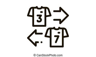 Teams T-shirt Exchange Icon Animation. black Teams T-shirt Exchange animated icon on white background