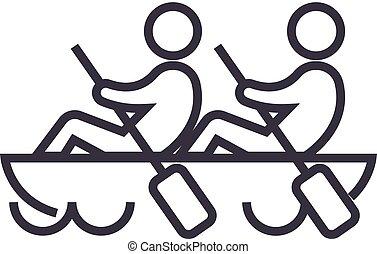 team,teamwork,canoe vector line icon, sign, illustration on background, editable strokes