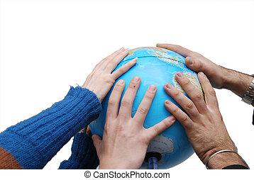 teamwok, conceito, com, mãos, globo