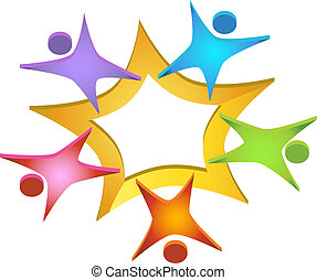 Teamwork 3D Icon - Figures surrounding a star shape...