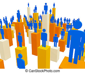 teamwork - 3d image of business people and stat methaporic ...