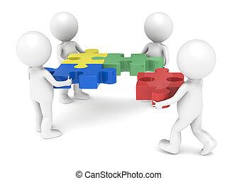 Teamwork - 3d little human character X4 The Team solving a...