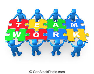 Teamwork - 3d people holding pieces of a jigsaw puzzle with...