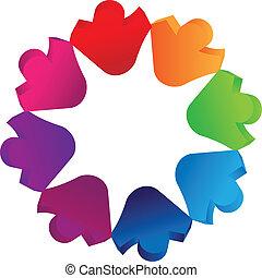 Teamwork 3D people logo vector