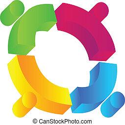 Teamwork 3D people union logo