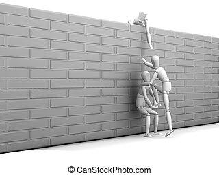 Teamwork - 3D render depicting teamwork