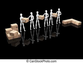 Teamwork - 3D render of a team of workers