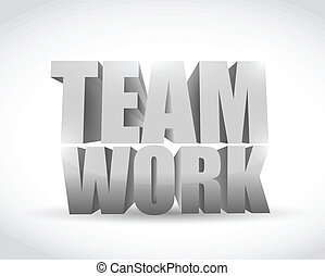 teamwork 3d text illustration design
