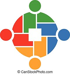 Teamwork 4 people group logo