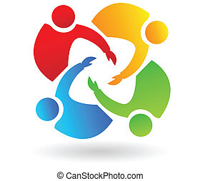 Teamwork 4 people helping logo