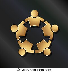 Teamwork 5 strong golden people connected in circle. Vector icon