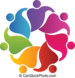 Teamwork 7 people hugging logo
