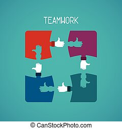 Teamwork abstract concept with jigsaw puzzle in flat style