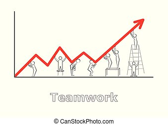 teamwork, abstract little people holding a red broken line of graphics, isolated on white background horizontal vector illustration