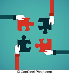 Teamwork abstract vector concept with jigsaw puzzle in flat style