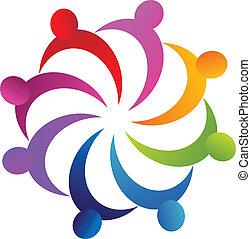 teamwork, affärsfolk, logo