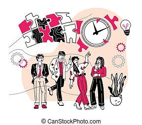 teamwork., affari, comunicare, insieme., lavorativo, squadra, associazione