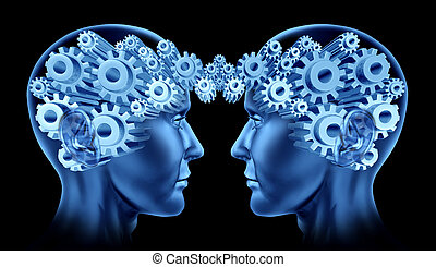 Teamwork and business cooperation with two human heads facing each other with gears and cogs representing their brains as a symbol of industry working together.
