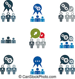 Teamwork and business cooperation theme creative vector icons se