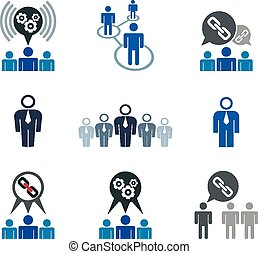 Teamwork and business cooperation theme creative vector icons set, conceptual business team symbols collection including gear system and chain link.