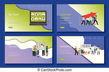 Teamwork and cooperation for business. Cartoon people characters vector illustration with smiling colleagues putting puzzle pieces, solving problem, growing business, consulting.