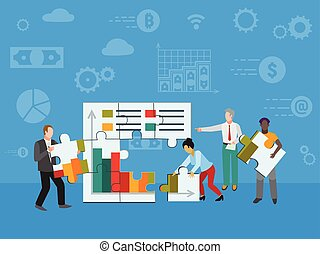 Teamwork and cooperation for business. Modern cartoon people characters vector illustration with smiling colleagues putting puzzle pieces together. Creative concept of team building.