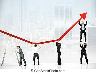 Teamwork and corporate profit - Team of people to save the...