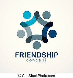 Teamwork and friendship concept created with simple ...