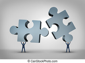 Teamwork and leadership business concept with two giant ...
