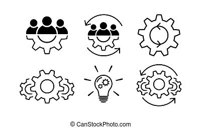 Teamwork and process line icon set in flat.