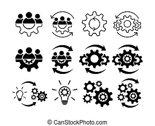 Teamwork and process line icon set. Line and fill