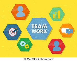 teamwork and symbols in grunge flat design hexagons