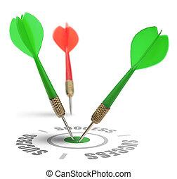 teamwork and target reaching the same goal - team of darts...