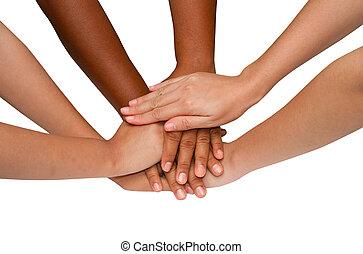 Teamwork and team spirit ,handshake in a group after work...