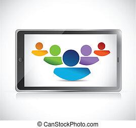 teamwork and technology tablet illustration design