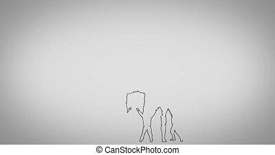 Teamwork animation on grey background