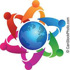 Teamwork around globe logo