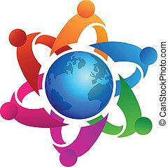 Teamwork around globe logo